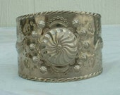 Vintage SouthWestern Cuff Bracelet Wide Repousse Indian Style Silver Plated Tribal Jewelry