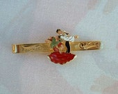 Colorful Dancers Tie Bar Clasp Cloisonne Gold Plated Vintage Jewelry Dancing with the Stars