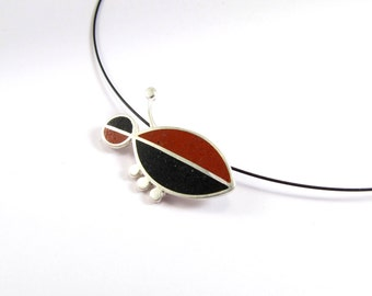 Sterling Silver Pendant - Black and Maroon  - OOAK