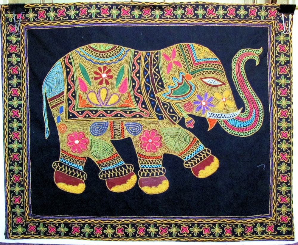 Elephant Wall Tapestry Wall Hanging by the Old Silk Route