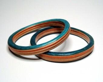 skateboard bangle- turquoise orange and natural- medium