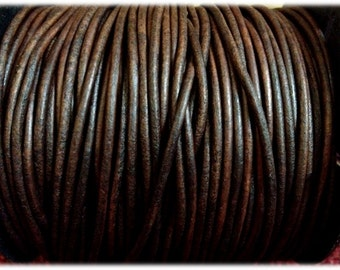 2 mm - 32.80 ft. Genuine leather round cord - Natural Antique Brown (10 Meters) AAA Quality