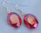 Large RED Crystal Earrings faceted with Sterling Silver