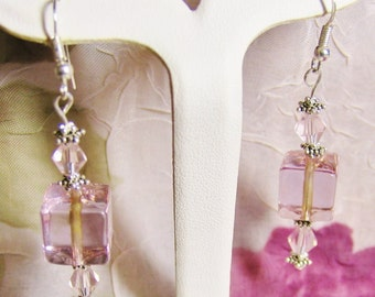 Pretty Pink VENETIAN GLASS cubed Earrings with Swarovski crystal accents & Sterling Silver hooks