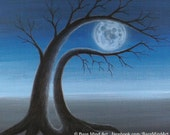 "FULL MOON 2 - 4 3/16"" x 5 1/2"" Postcard from Original Surreal Painting by Masako"