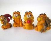Set of 4 Small Garfield Figurines in Polymer Clay 1982 and 1983 KB