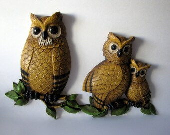 Set of Owl Plastic Wall Plaques 1970s Vintage Collectibles HOMCO