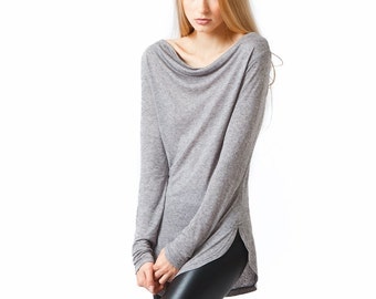 Cowl neck sweater womens, oversized grey long sleeve top, long knit sweater open neck
