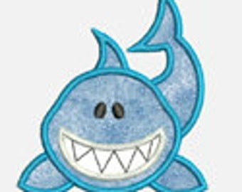 Happy Shark...Embroidery Applique Design...Three sizes for multiple hoops...Item1563...INSTANT DOWNLOAD