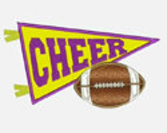 Cheer Pennant and Football...Embroidery Applique Design...Two sizes for multiple hoops...Item137..INSTANT DOWNLOAD4.