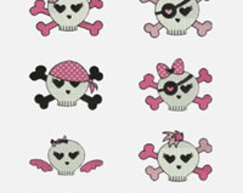 Skulls - 6 Stitched Machine Embroidery Designs -  Design sizes Listed -  item1158 ......INSTANT DOWNLOAD
