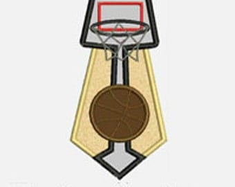 Basketball Tie...Embroidery Applique Design...Three sizes for multiple hoops...Item1561...INSTANT DOWNLOAD