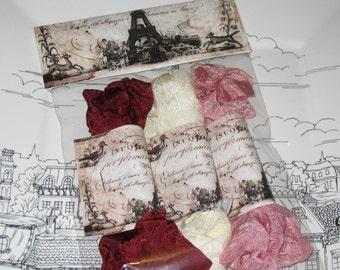 Scrunched Seam Binding ribbon, Crinkled Seam Binding Packaged Vintage Bordeaux ECS