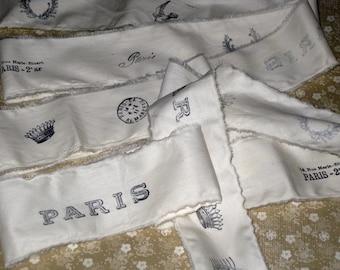 Muslin Paris Vintage Hand Stamped Ribbon Paris Icons ECS