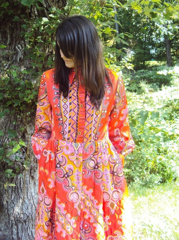 60s MAXI Dress Quilted Skirt Orange paisley M, L  Georgie Keyloun psychedelic print