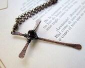 Hammered Copper Cross Pendant, garnet Czech glass, rustic, boho, hand forged, oxidized