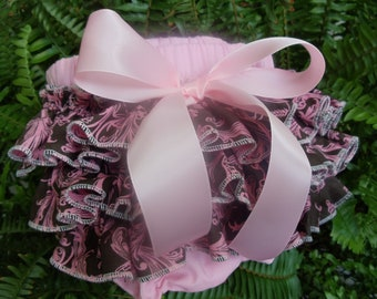 Ruffled Diaper Cover in Baby Pink and Chocolate Brown