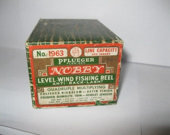 Pflueger Nobby Level Wind Fishing Reel Original Box and Original Owners Manual Instructions Shabby Chic Antique Vintage Fishing Collectible