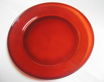 Arcoroc France Clear Red Vintage Serving Plate Collectible Home Decor Year Around or Holiday Specials Tempered Glass Lovely Clear Red