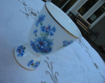 Ceramic Cup in White with Blue Flowers