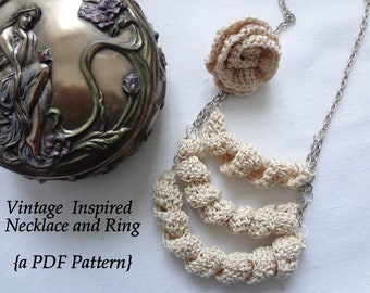 Crochet PDF Pattern - Crocheted Necklace and Ring Tutorial - Last Minute Gifts Series - vintage inspired