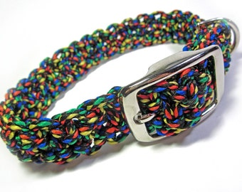 Colorful  Black, red, green, yellow, blue - Large Dog Macramé Collar