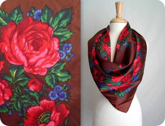 Large Brown Red & Blue Floral Scarf