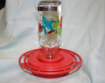 Hand Painted Hummingbird Feeder Red Hibiscus and Hummingbird