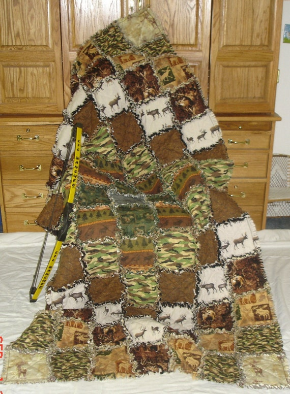 Outdoorsman Cotton Flannel Rag Quilt Twin Extra Long Day Big