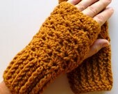 Golden Brown Fingerless Gloves Wrist Warmers Golden Brown Handmade Crochet