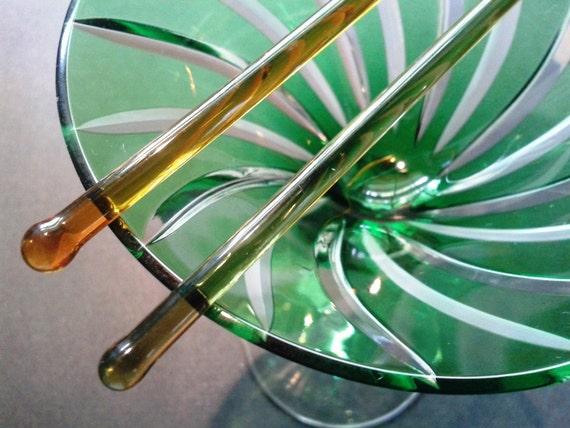 Amber and Olive Green Glass Stirrer Swizzle Sticks