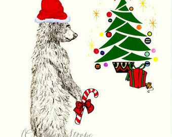 CARD, note card, Christmas card, bear, black bear, Ellen Strope, castteam black bear decor, Christmas decor, Christmas tree, candy cane