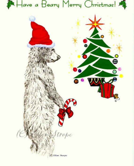 CARD, note card, Christmas card, bear, black bear, Ellen Strope, castteam black bear decor, Christmas decor, Christmas tree, candy cane