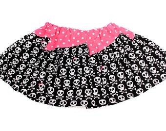 Girls Pink and Black Skull Skirt