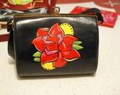 rockabilly, Psychobilly , tattoo art, lowbrow art, hand painted purse in one shot enamel