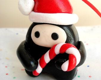 Ninja Christmas Ornament Polymer Clay Chibi Ninja with Santa Hat Geek Christmas Ornaments Ninja Ornament Cute Ornaments