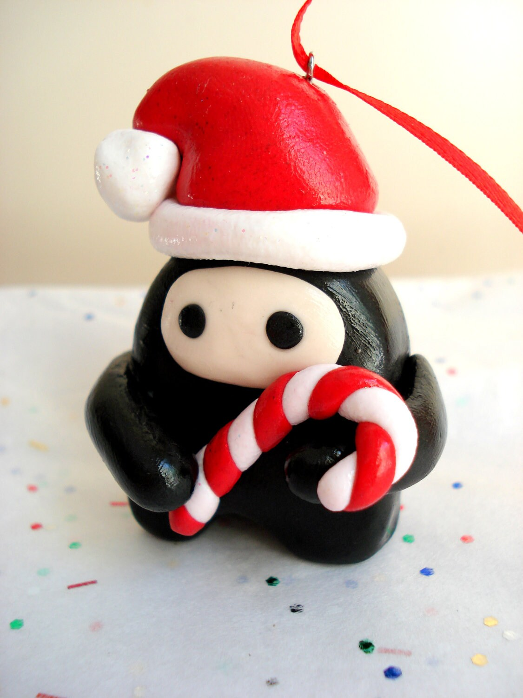 Ninja Christmas Ornament Polymer Clay Chibi