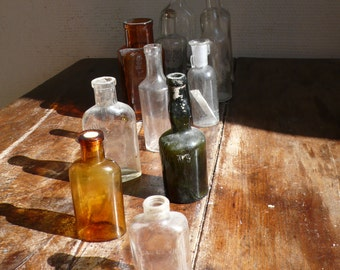 Collection of Antique Glass Bottles, chemistry sets,  pharmacy bottle,  brown glass, Green glass jar, Mini bottle collection, Small bottles
