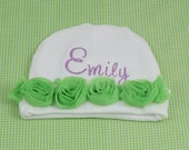 Flower Beanie Cap / Hat for Infant / Newborn - Matching Gown available.