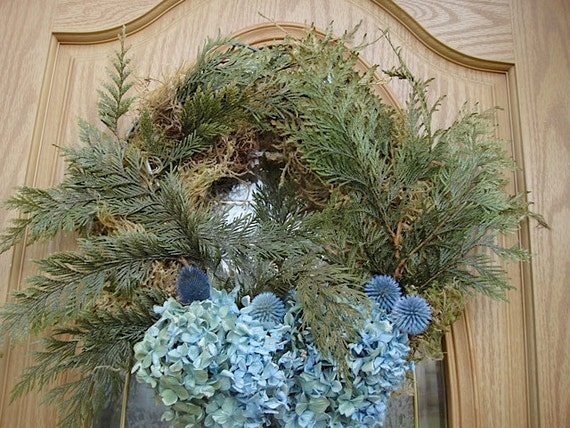 Dried Blue Hydrangea Wreath On A Bed Of Preserved Cedar     Now On Sale