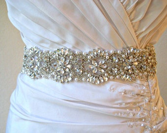 Bridal Crystal & Pearl Luxury Sash.  Vintage Style Rhinestone Embellished Wedding Belt. DUCHESS