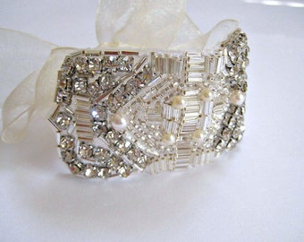 Bridal Great Gatsby Art Deco Bracelet.  Beaded Czechoslovakia Crystal Rhinestone Pearl Wedding Cuff. FLAPPER DECO