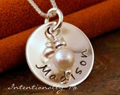 Hand Stamped  Mommy Necklace - Sterling Silver Personalized Jewelry - Simplicity Domed Name Tag