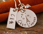Hand Stamped Necklace - Personalized Jewelry - Sterling Silver Jewelry - C'est L'amour - It is love (couples necklace)