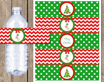 Merry Christmas Water Bottle Labels, Christmas Party, Christmas Water Bottle Wraps, Digital, Printable INSTANT DOWNLOAD