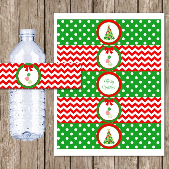 Merry Christmas Water Bottle Labels Christmas Party