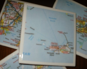 Map Coasters - Mass...Cape Cod, Nantucket, Martha's Vineyard Coasters...Set of 4...Full Cork Bottoms NOT Felt...For Drinks or Candles