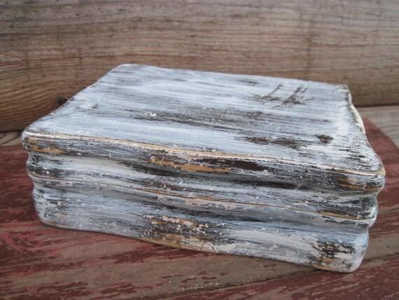 RESERVED for Jennifer - Dark Walnut Dovetail Jewelry Box Painted White