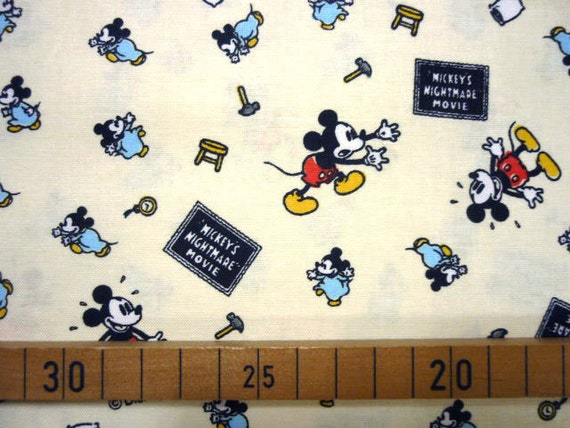 1 Yard  MICKEY'S NIGHTMARE MOVIE  Disney fabric Mickey mouse printed white color