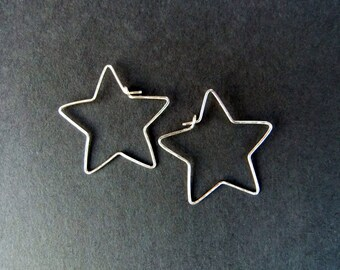 Small Star Shaped Hoops Star Earrings Sterling Silver Hand Shaped Hammered Metal Handcrafted Jewelry